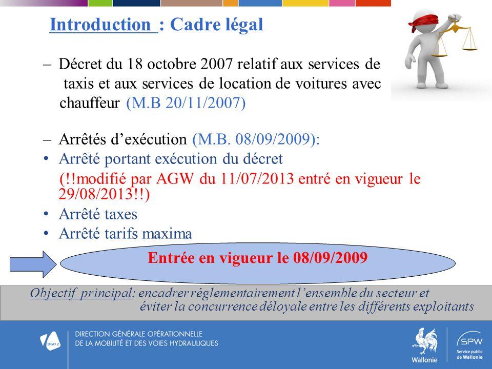 Introduction : Cadre légal –Décret du 18 octobre 2007 relatif aux services de taxis et aux services de location de voitures avec chauffeur (M.B 20/11/