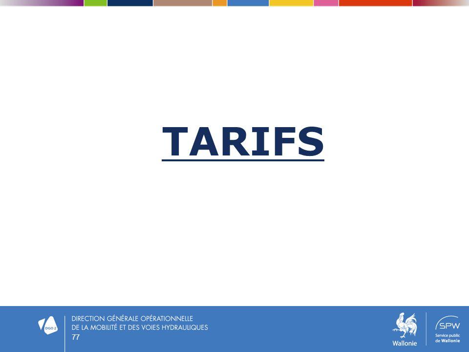 TARIFS 77