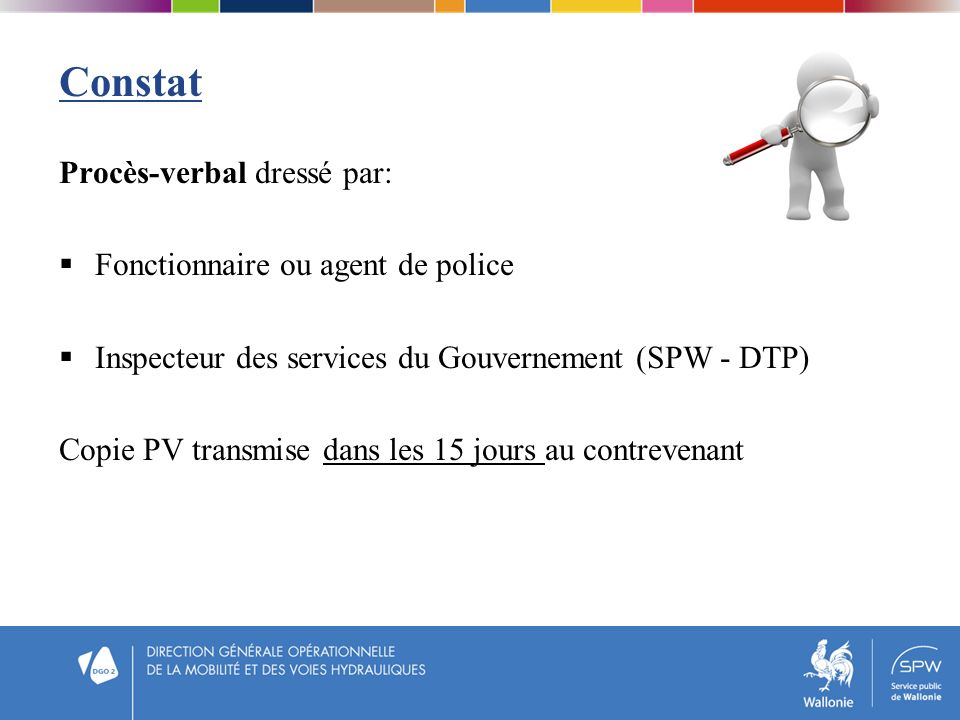 Constat Procès-verbal dressé par: Fonctionnaire ou agent de police Inspecteur des services du Gouvernement (SPW - DTP) Copie PV transmise dans les 15