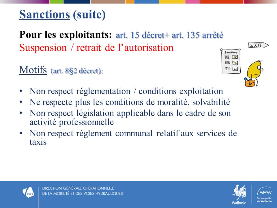 Sanctions (suite) art. 15 décret+ art. 135 arrêté Pour les exploitants: art. 15 décret+ art. 135 arrêté Suspension / retrait de lautorisation (art. 8§