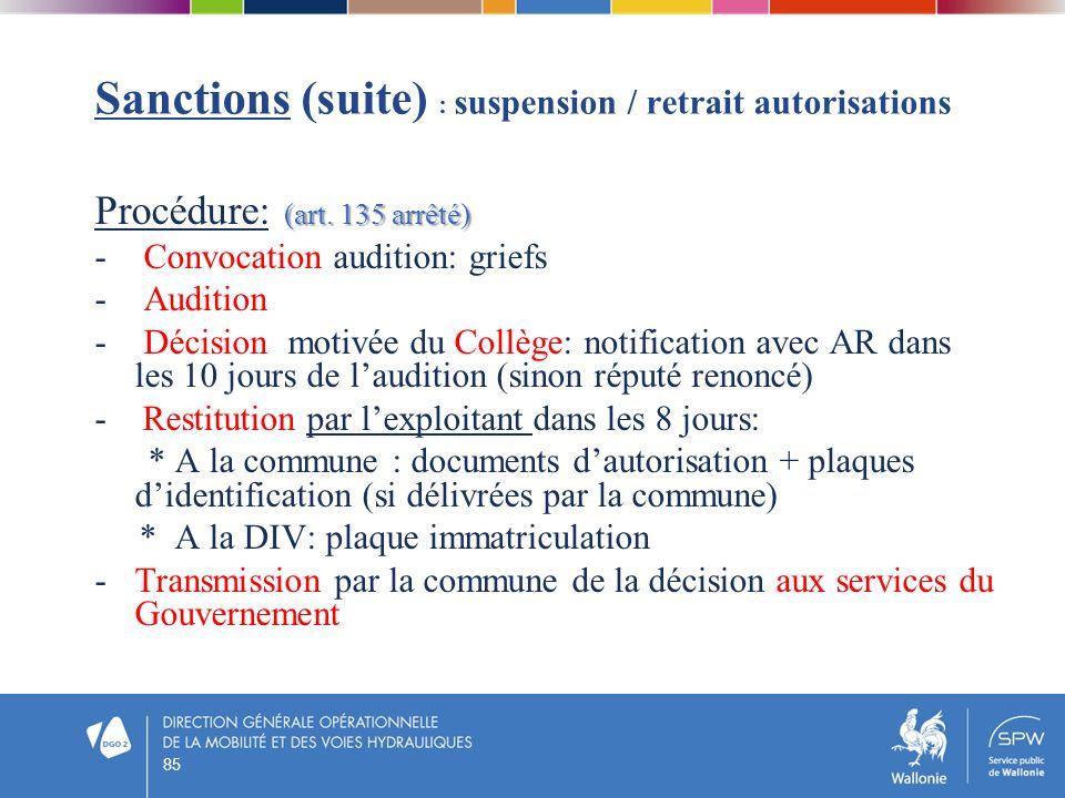 Sanctions (suite) : suspension / retrait autorisations (art. 135 arrêté) Procédure: (art. 135 arrêté) - Convocation audition: griefs - Audition - Déci