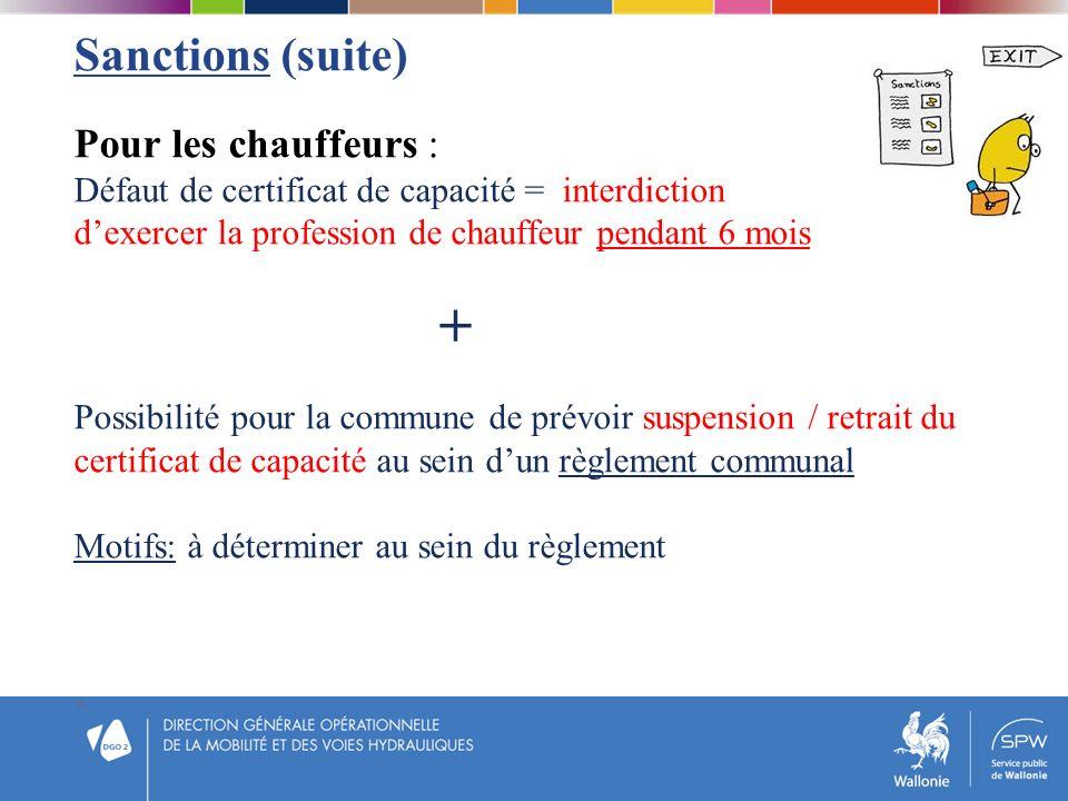 Sanctions (suite) Pour les chauffeurs : Défaut de certificat de capacité = interdiction dexercer la profession de chauffeur pendant 6 mois + Possibili