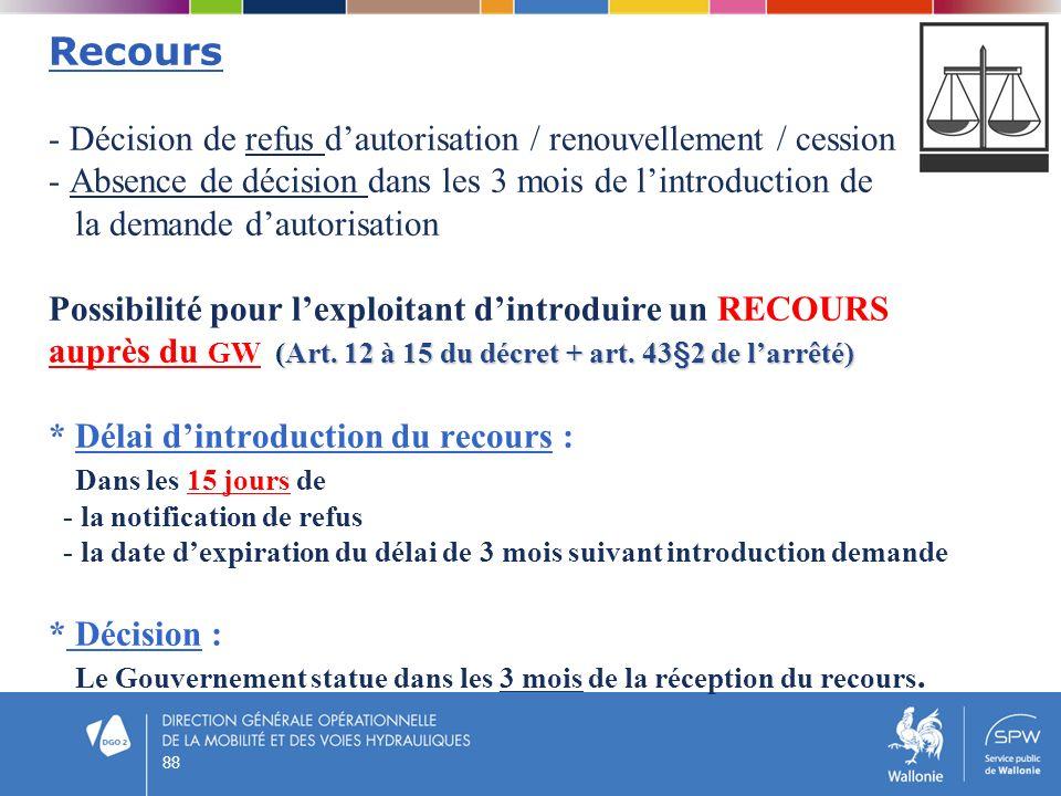 88 (Art. 12 à 15 du décret + art. 43§2 de larrêté) Recours - Décision de refus dautorisation / renouvellement / cession - Absence de décision dans les