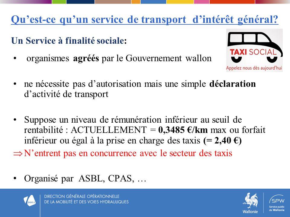 Quest-ce quun service de transport dintérêt général? Un Service à finalité sociale: organismes agréés par le Gouvernement wallon ne nécessite pas daut