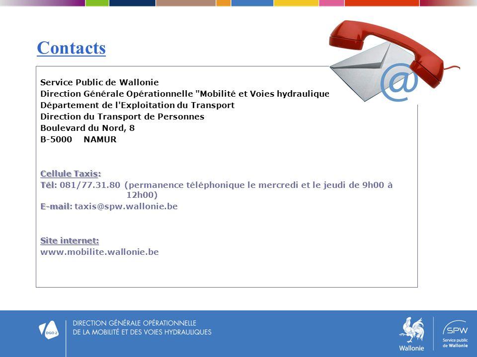 Contacts Service Public de Wallonie Direction Générale Opérationnelle
