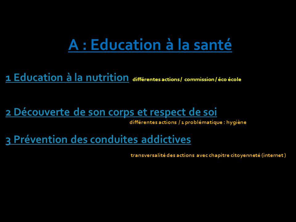 A : Education à la santé 1 Education à la nutrition 1 Education à la nutrition différentes actions / commission / éco école 1 Education à la nutrition