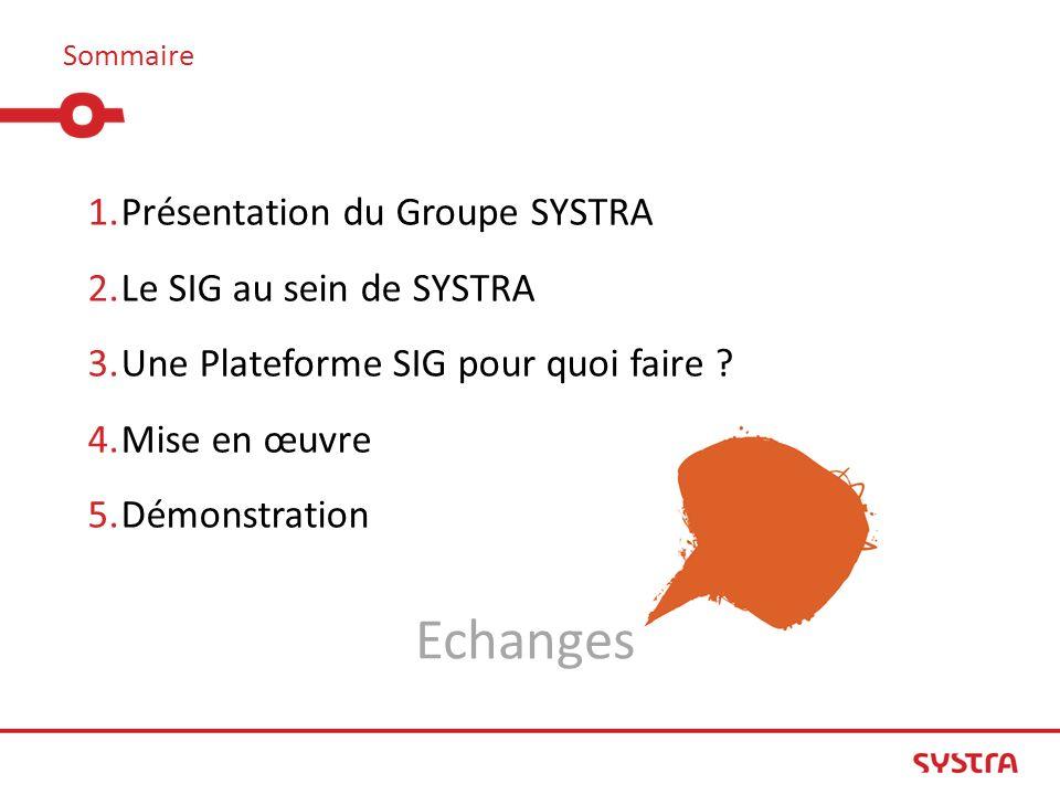 Sommaire 1.Présentation du Groupe SYSTRA 2.Le SIG au sein de SYSTRA 3.Une Plateforme SIG pour quoi faire ? 4.Mise en œuvre 5.Démonstration Echanges