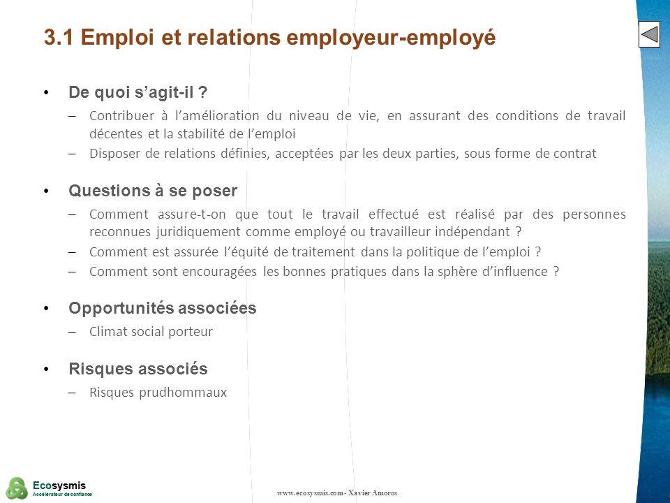 12 Ecosysmis Accélérateur de confiance Ecosysmis Accélérateur de confiance 3.1 Emploi et relations employeur-employé De quoi sagit-il ? – Contribuer à