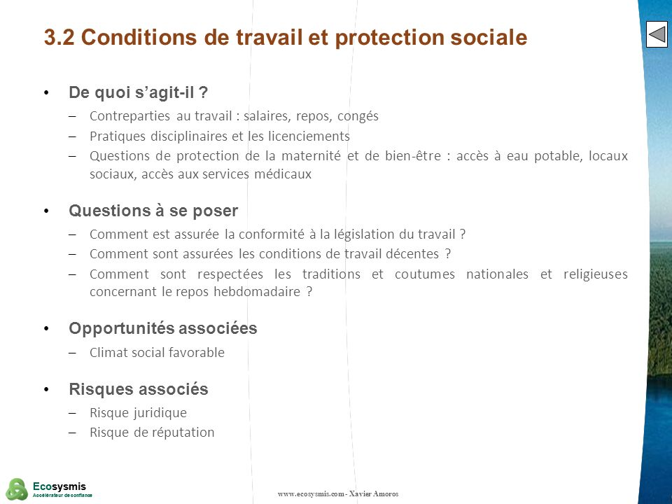 13 Ecosysmis Accélérateur de confiance Ecosysmis Accélérateur de confiance 3.2 Conditions de travail et protection sociale De quoi sagit-il ? – Contre