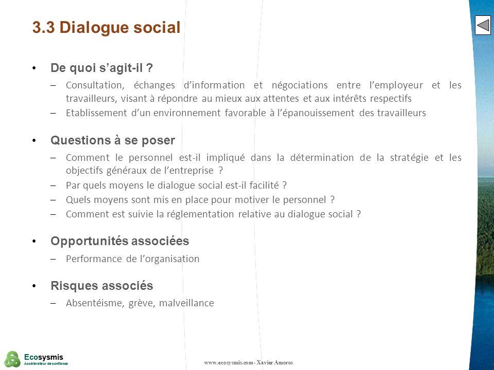 14 Ecosysmis Accélérateur de confiance Ecosysmis Accélérateur de confiance 3.3 Dialogue social De quoi sagit-il ? – Consultation, échanges dinformatio