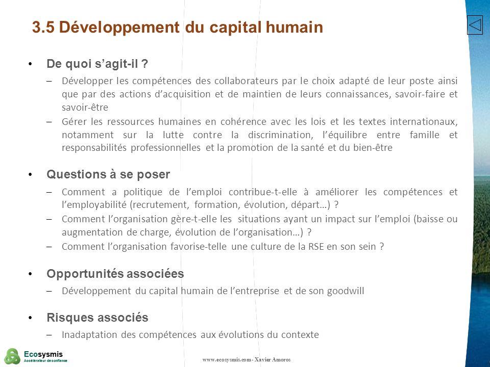 16 Ecosysmis Accélérateur de confiance Ecosysmis Accélérateur de confiance 3.5 Développement du capital humain De quoi sagit-il ? – Développer les com