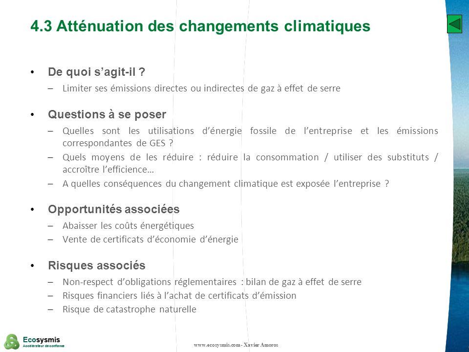 19 Ecosysmis Accélérateur de confiance Ecosysmis Accélérateur de confiance 4.3 Atténuation des changements climatiques De quoi sagit-il ? – Limiter se