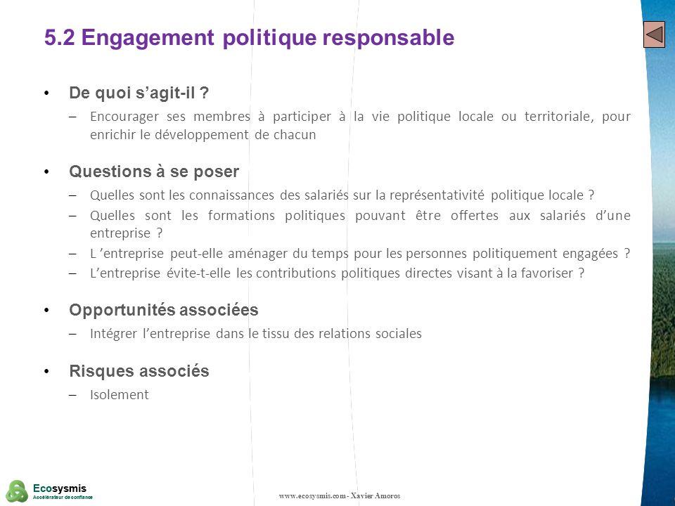 22 Ecosysmis Accélérateur de confiance Ecosysmis Accélérateur de confiance 5.2 Engagement politique responsable De quoi sagit-il ? – Encourager ses me