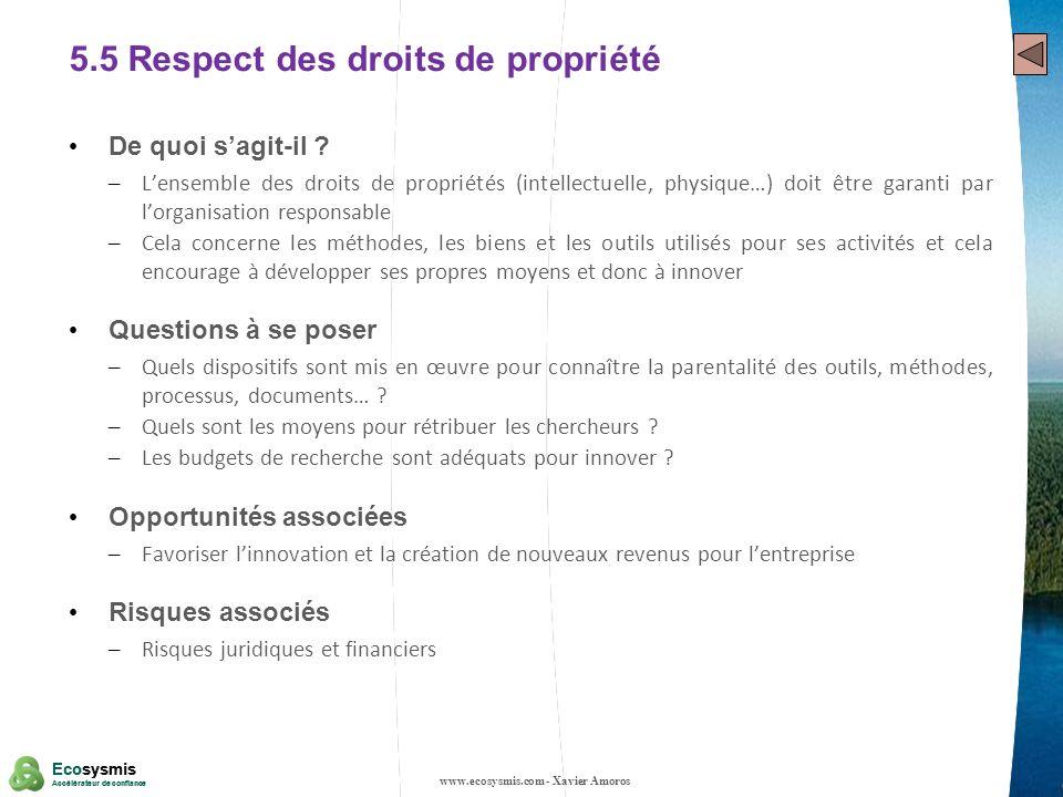 25 Ecosysmis Accélérateur de confiance Ecosysmis Accélérateur de confiance 5.5 Respect des droits de propriété De quoi sagit-il ? – Lensemble des droi