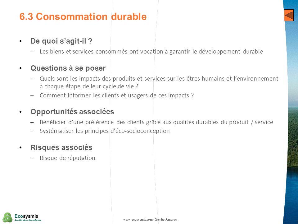 28 Ecosysmis Accélérateur de confiance Ecosysmis Accélérateur de confiance 6.3 Consommation durable De quoi sagit-il ? – Les biens et services consomm
