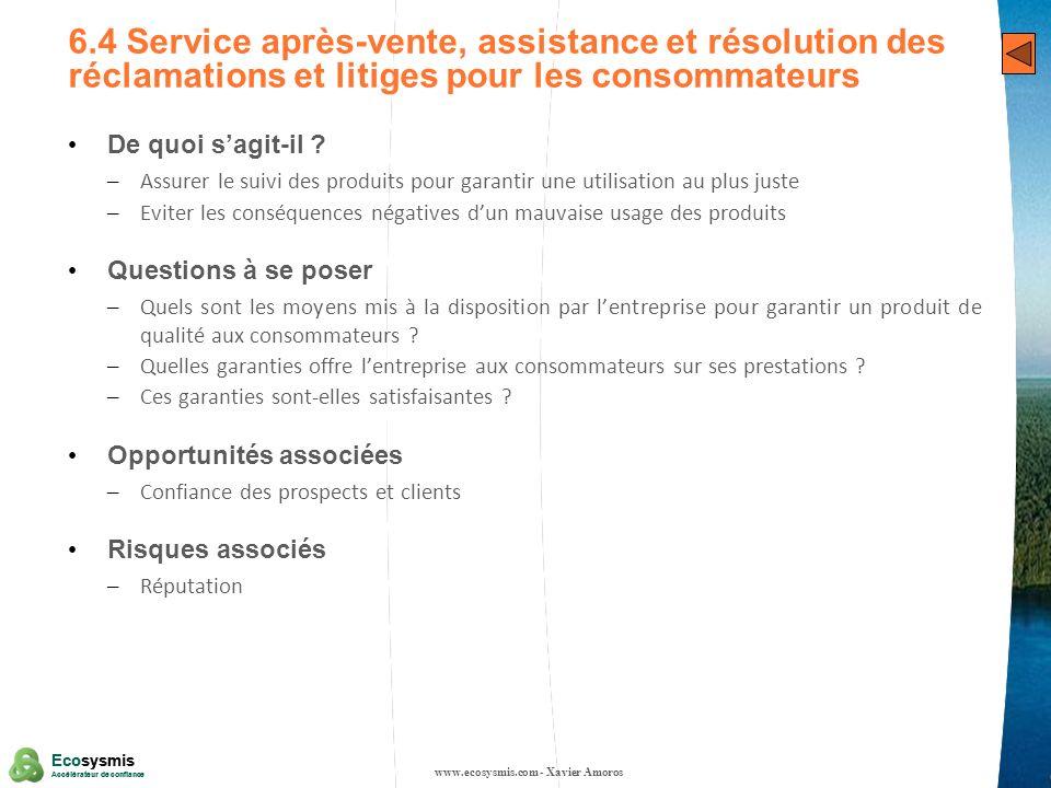 29 Ecosysmis Accélérateur de confiance Ecosysmis Accélérateur de confiance 6.4 Service après-vente, assistance et résolution des réclamations et litig