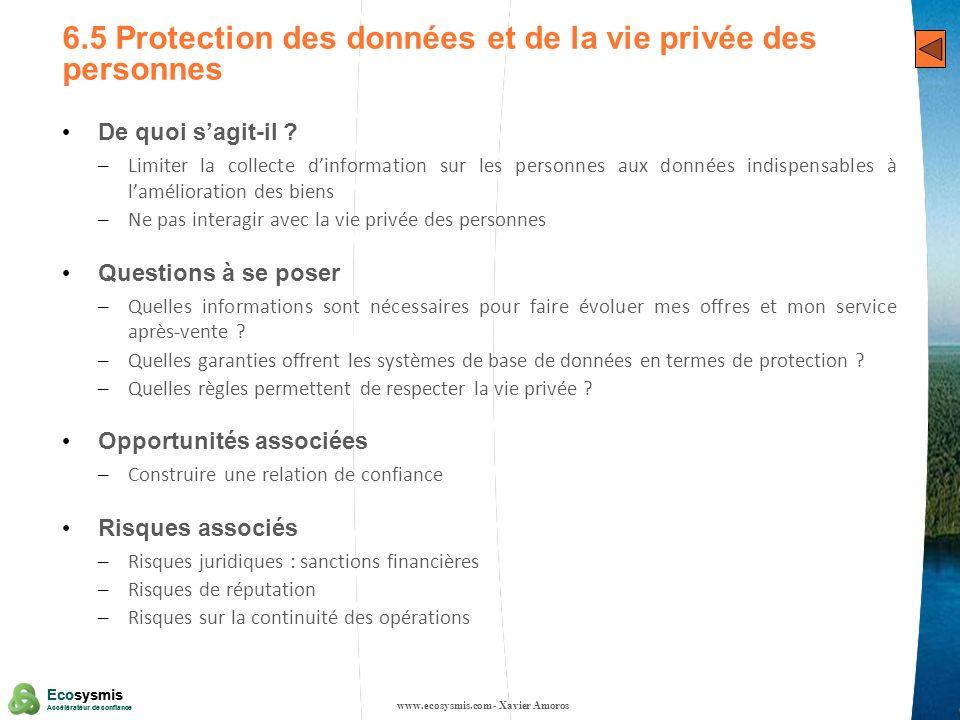 30 Ecosysmis Accélérateur de confiance Ecosysmis Accélérateur de confiance 6.5 Protection des données et de la vie privée des personnes De quoi sagit-