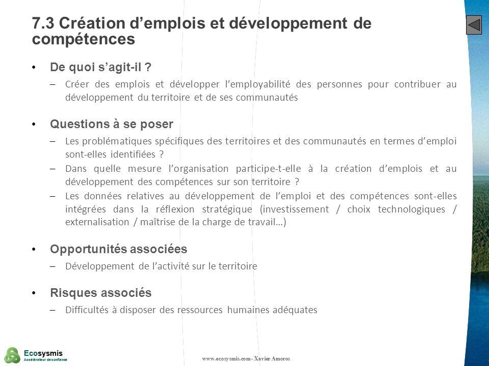 35 Ecosysmis Accélérateur de confiance Ecosysmis Accélérateur de confiance 7.3 Création demplois et développement de compétences De quoi sagit-il ? –