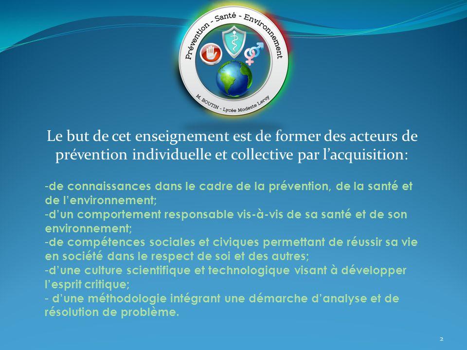Le but de cet enseignement est de former des acteurs de prévention individuelle et collective par lacquisition: 2 - de connaissances dans le cadre de