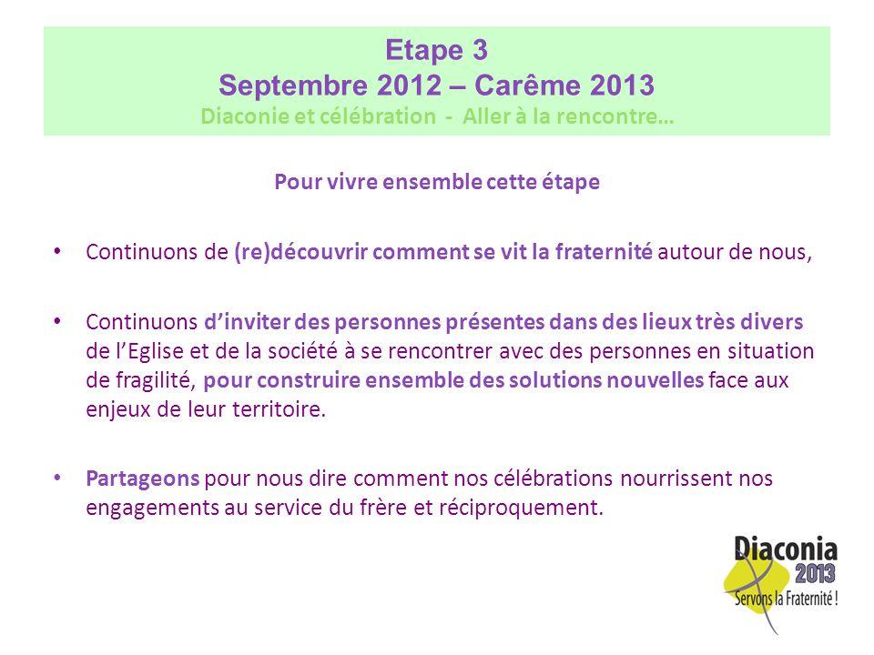 Etape 3 (suite) Septembre 2012 – Carême 2013 Diaconie et célébration - Aller à la rencontre Le Dimanche Autrement un moment privilégié pour vivre cette étape 3.