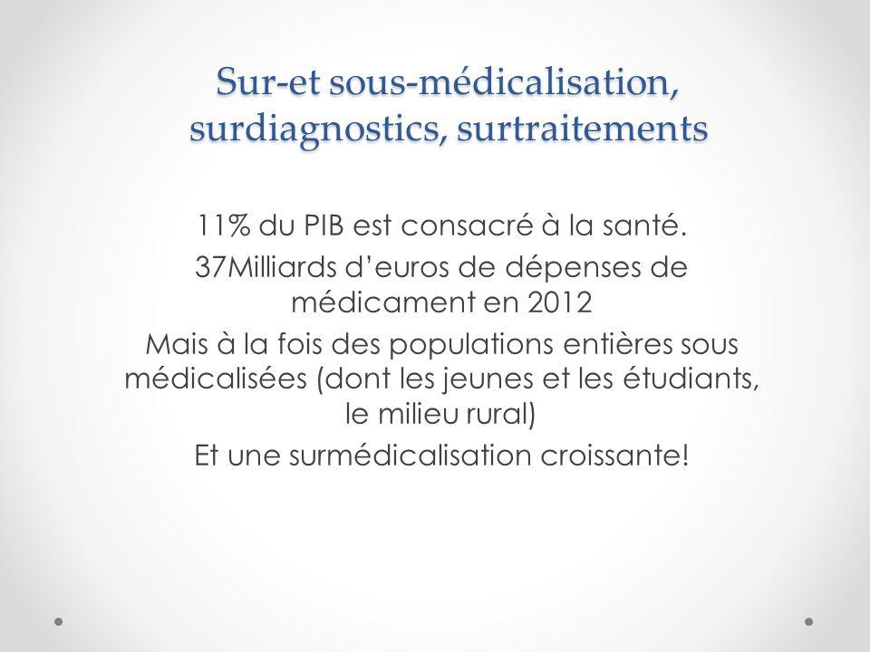 Sur-et sous-médicalisation, surdiagnostics, surtraitements 11% du PIB est consacré à la santé.