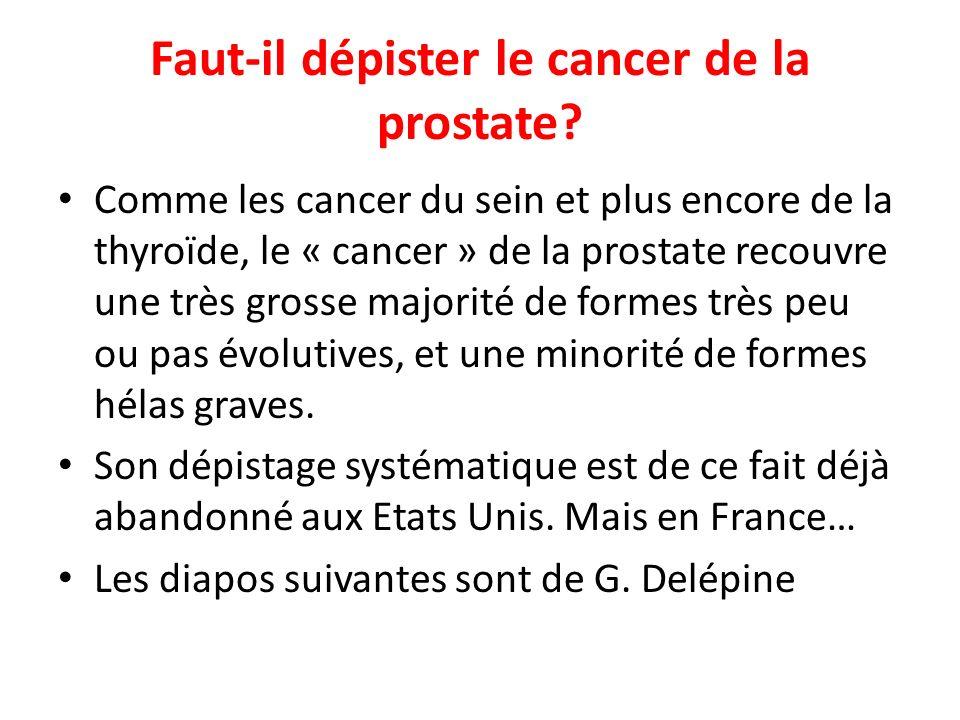 Faut-il dépister le cancer de la prostate.