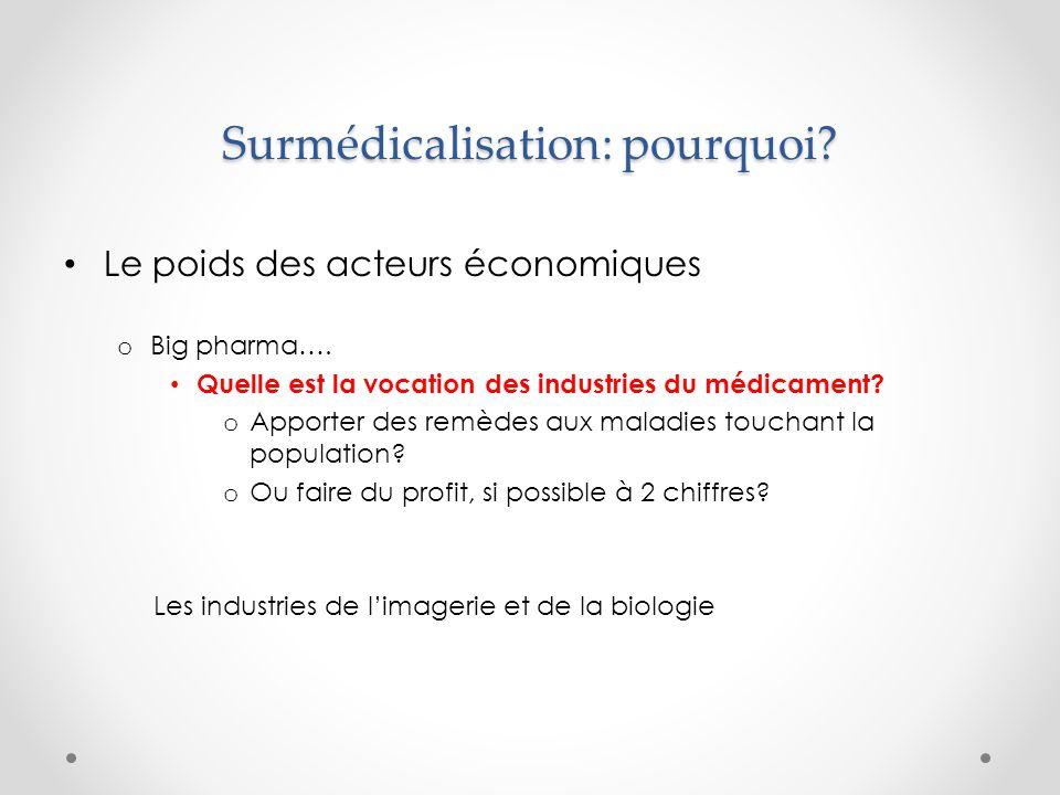Surmédicalisation: pourquoi. Le poids des acteurs économiques o Big pharma….