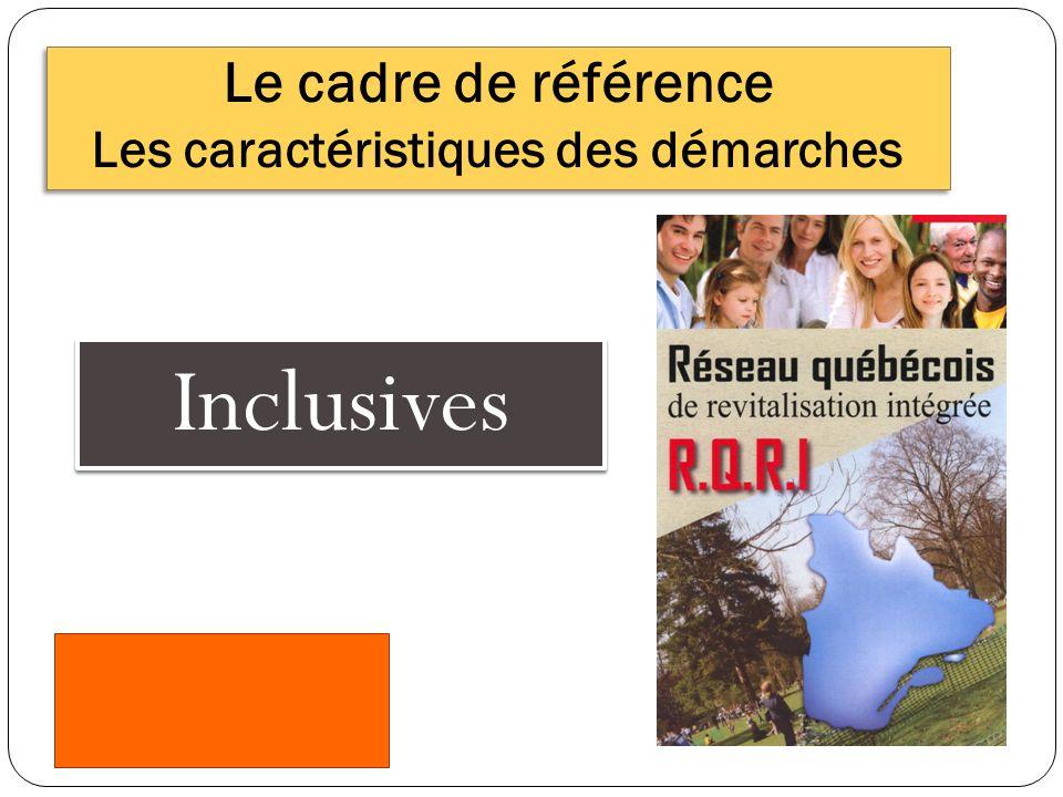Le cadre de référence Les caractéristiques des démarches Inclusives