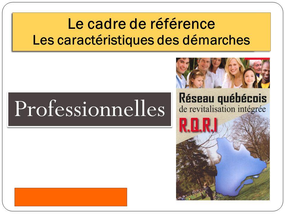 Professionnelles Le cadre de référence Les caractéristiques des démarches