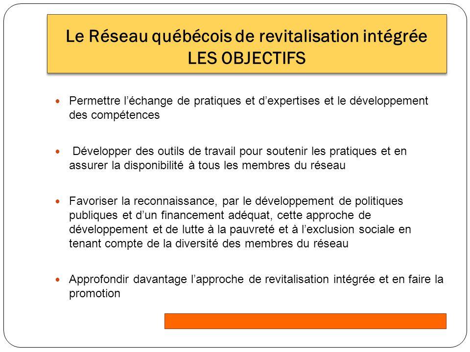 Réseau québécois de revitalisation intégrée Le cadre de référence Une définition Les démarches de revitalisation intégrée sont inclusives, territorialisées, globales, intersectorielles, participatives, pérennes et professionnelles.