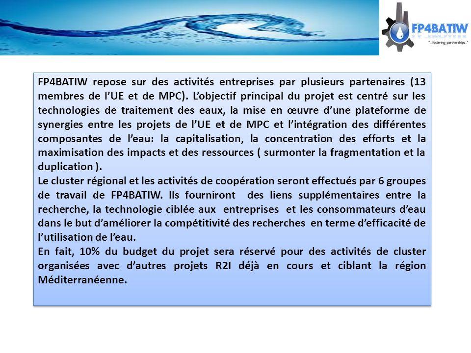 FP4BATIW repose sur des activités entreprises par plusieurs partenaires (13 membres de lUE et de MPC).