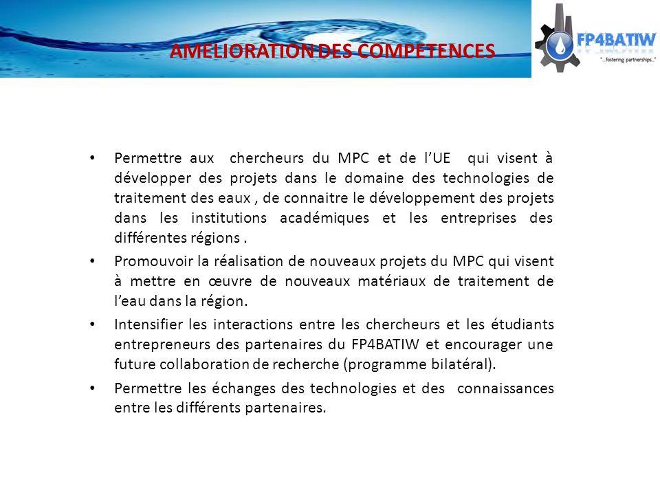 Permettre aux chercheurs du MPC et de lUE qui visent à développer des projets dans le domaine des technologies de traitement des eaux, de connaitre le développement des projets dans les institutions académiques et les entreprises des différentes régions.