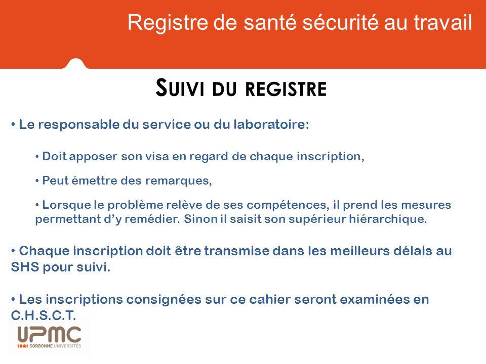 Registre de santé sécurité au travail S UIVI DU REGISTRE Le responsable du service ou du laboratoire: Doit apposer son visa en regard de chaque inscri