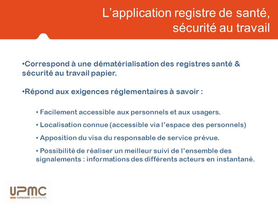 Lapplication registre de santé, sécurité au travail Correspond à une dématérialisation des registres santé & sécurité au travail papier. Répond aux ex