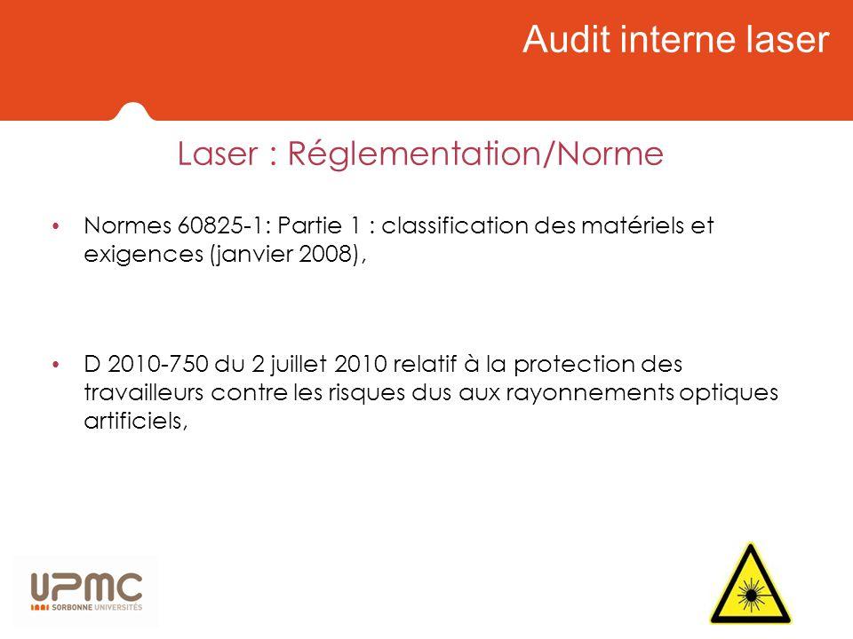 Audit interne laser Laser : Réglementation/Norme Normes 60825-1: Partie 1 : classification des matériels et exigences (janvier 2008), D 2010-750 du 2