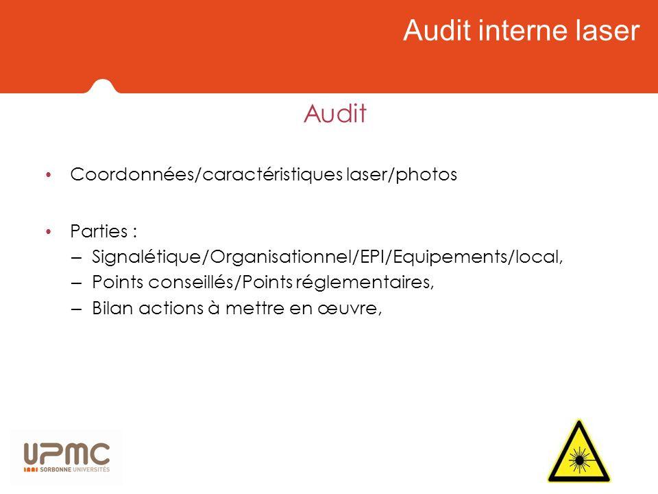 Audit interne laser Audit Coordonnées/caractéristiques laser/photos Parties : – Signalétique/Organisationnel/EPI/Equipements/local, – Points conseillé