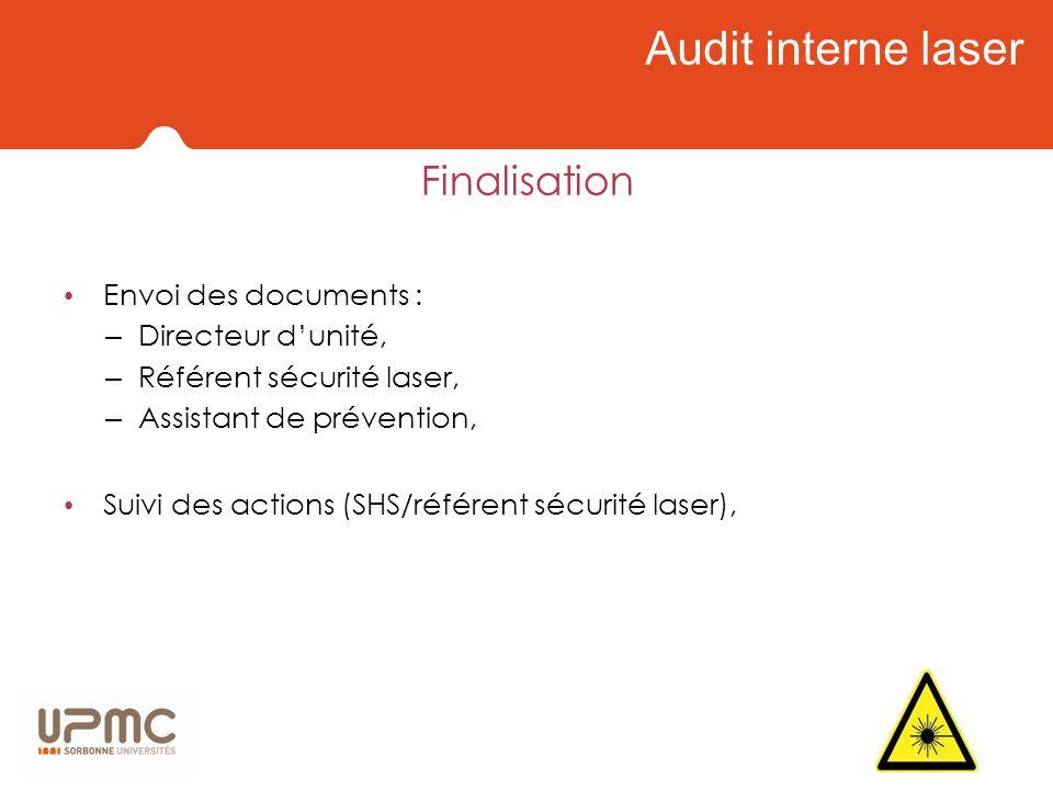 Audit interne laser Finalisation Envoi des documents : – Directeur dunité, – Référent sécurité laser, – Assistant de prévention, Suivi des actions (SH