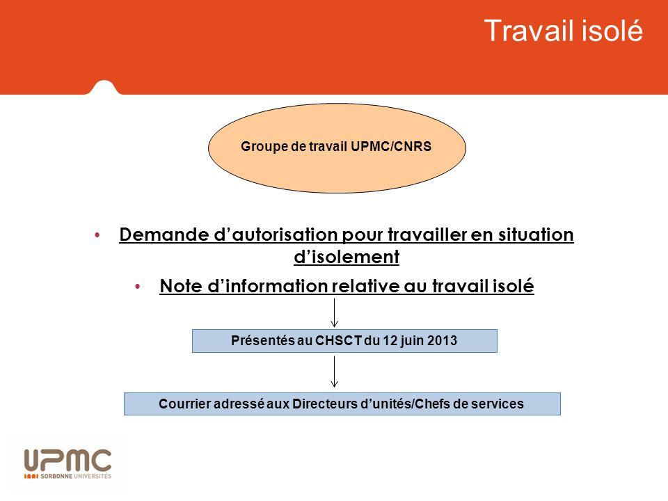 Travail isolé Demande dautorisation pour travailler en situation disolement Note dinformation relative au travail isolé Groupe de travail UPMC/CNRS Pr