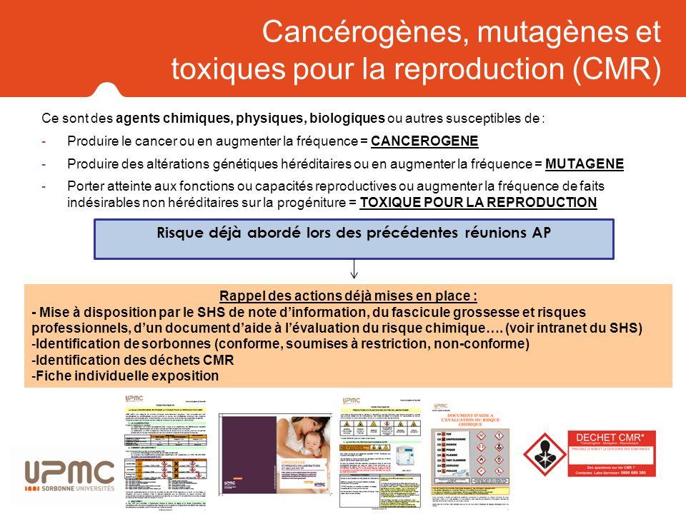 Cancérogènes, mutagènes et toxiques pour la reproduction (CMR) Ce sont des agents chimiques, physiques, biologiques ou autres susceptibles de : -Produ