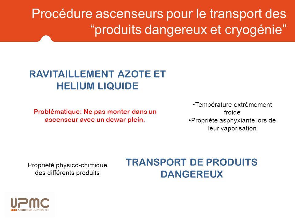 Procédure ascenseurs pour le transport des produits dangereux et cryogénie RAVITAILLEMENT AZOTE ET HELIUM LIQUIDE TRANSPORT DE PRODUITS DANGEREUX Exem
