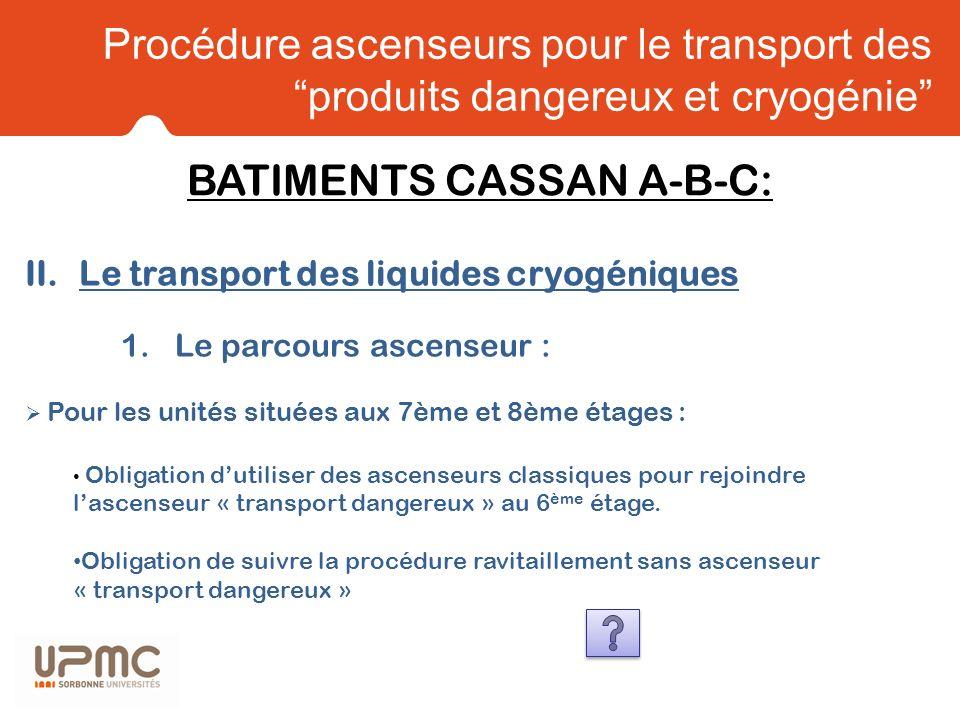 Procédure ascenseurs pour le transport des produits dangereux et cryogénie II.Le transport des liquides cryogéniques 1.Le parcours ascenseur : Pour le