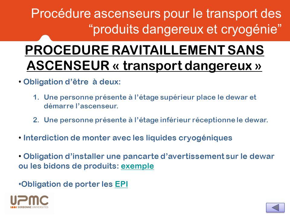 Procédure ascenseurs pour le transport des produits dangereux et cryogénie Obligation dêtre à deux: 1.Une personne présente à létage supérieur place l