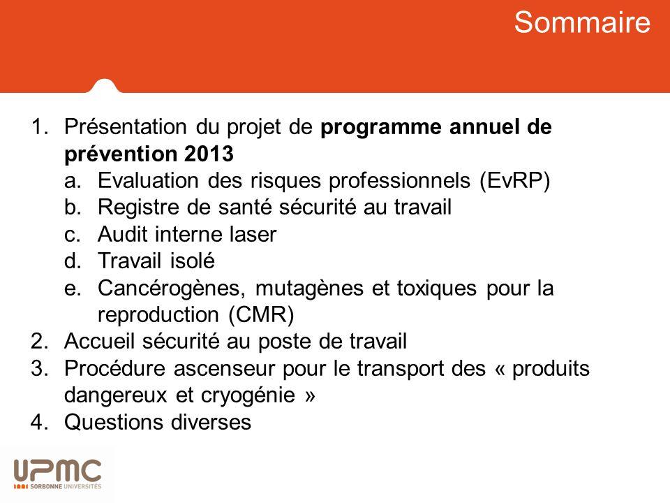 Sommaire 1.Présentation du projet de programme annuel de prévention 2013 a.Evaluation des risques professionnels (EvRP) b.Registre de santé sécurité a