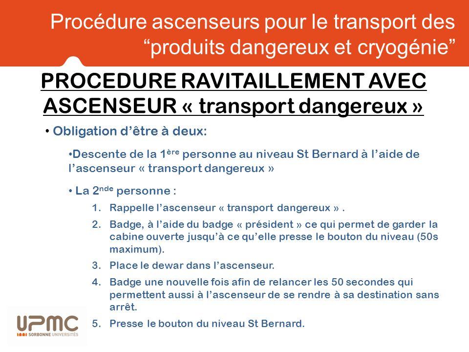 Procédure ascenseurs pour le transport des produits dangereux et cryogénie Obligation dêtre à deux: Descente de la 1 ère personne au niveau St Bernard