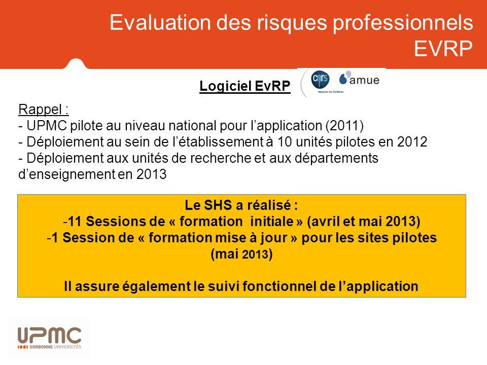 Evaluation des risques professionnels EVRP Logiciel EvRP Rappel : - UPMC pilote au niveau national pour lapplication (2011) - Déploiement au sein de l