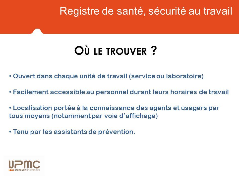 Registre de santé sécurité au travail Q UE PEUT - ON Y CONSIGNER .