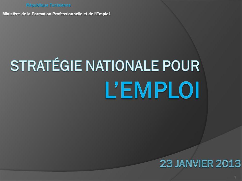 1 République Tunisienne République Tunisienne Ministère de la Formation Professionnelle et de lEmploi