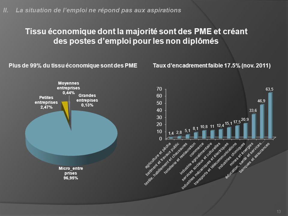 13 Tissu économique dont la majorité sont des PME et créant des postes demploi pour les non diplômés Taux dencadrement faible 17.5% (nov. 2011)Plus de