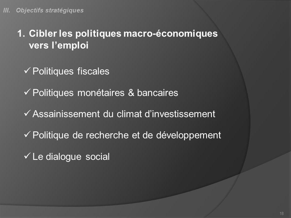 1.Cibler les politiques macro-économiques vers lemploi Politiques fiscales Politiques monétaires & bancaires Assainissement du climat dinvestissement