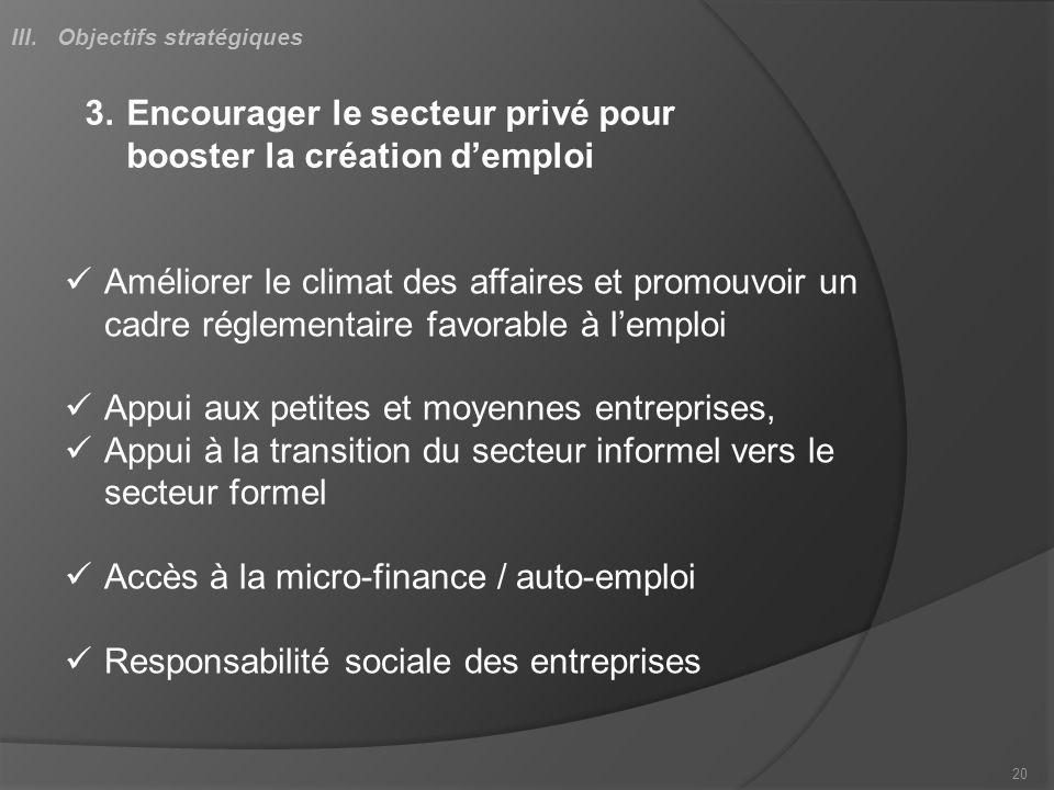 3.Encourager le secteur privé pour booster la création demploi Améliorer le climat des affaires et promouvoir un cadre réglementaire favorable à lempl